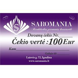 Dovanų čekis, kurio vertė 100 eur apsirkti elektroninėje partuotuvėje