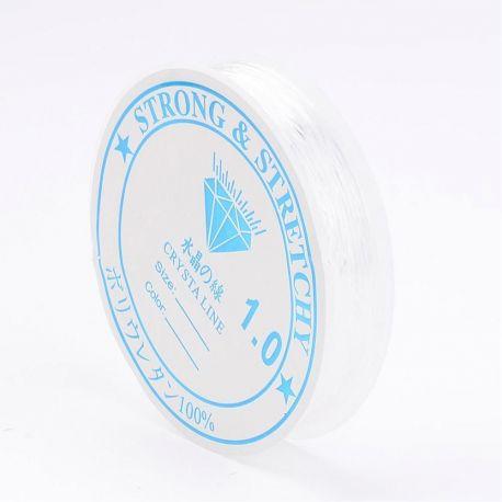 Elastinis siūlas/gumytė skirtas papuošalų, rankdarbių, suvenyrų gamyboje, skaidrios spalvos, 0.60 mm storio 8 metrų