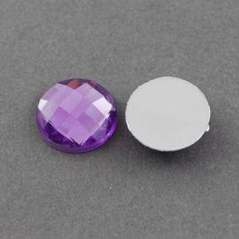 Akrilinis kabošonas, violetinės spalvos, nugarėlė dengtas folija, briaunuotas, monetos formos 20 mm, 1 vnt.