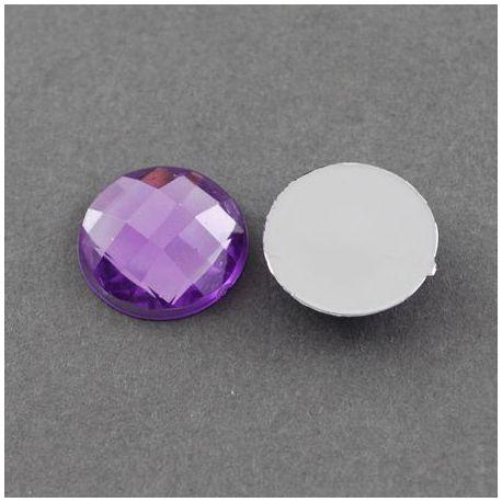 Akrilinis kabošonas, violetinės spalvos su folija, monetos formos 20 mm