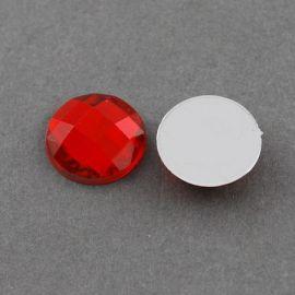 Akrilinis kabošonas, raudonos spalvos, nugarėlė dengtas folija, briaunuotas, monetos formos 20 mm, 1 vnt.