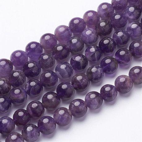 Ametisto karoliukų gija, skaidrios violetinės spalvos, dydis 10 mm
