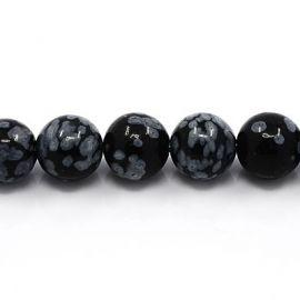 Natūralaus snieginio Obsidiano karoliukų gija 8 mm