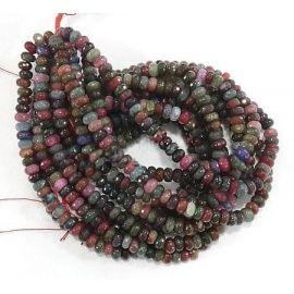 Natūralaus Agato karoliukų gija, įvairių spalvos, margi, dydis 10x6 mm