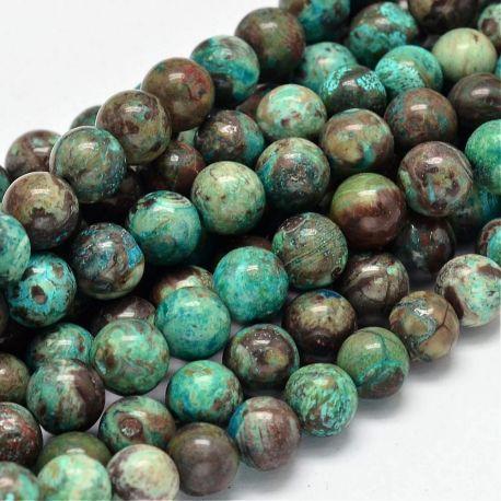 Natūralūs Agato akmeninių karoliukų gija, rankdarbiams, suvenyrams, papuošalams gaminti, rudai žydros spalvos, apvalios formos,