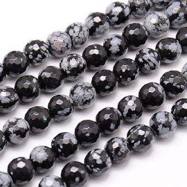 Snieginio Obsidiano karoliukų gija 10 mm