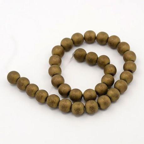 Sintetinio Hematito akmeniniai karoliukai, rankdarbiams, suvenyrams, papuošalams gaminti, sendintos aukso spalvos, apvalios form