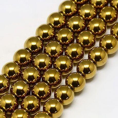 Sintetinio Hematito karoliukų gija, aukso spalvos, dydis 6 mm
