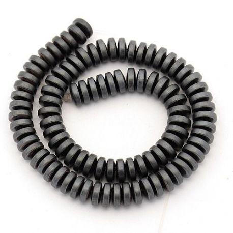 Sintetinio Hematito akmeniniai karoliukai, rankdarbiams, suvenyrams, papuošalams gaminti, pilkos spalvos spalvos, rondelės formo