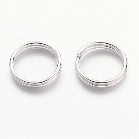 Dvigubi žiedeliai skirti papuošalų gamybai, sidabro spalvos 7x0,7 mm