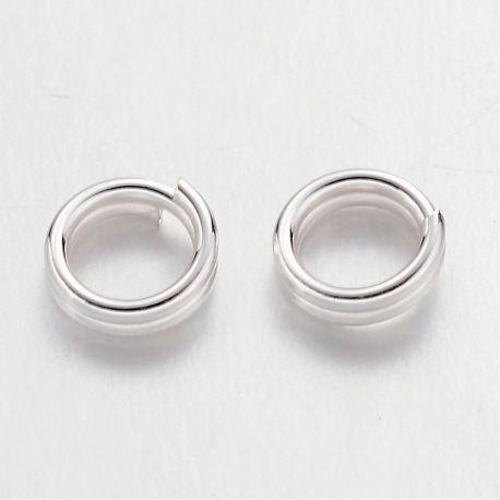 Dvigubi žiedeliai skirti papuošalų gamybai, sidabro spalvos 4x0,7 mm