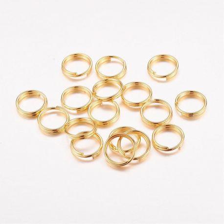 Dvigubi žiedeliai skirti papuošalų, suvenyrų, rankdarbių, žaislų gamyboje, aukso spalvos, dydis apie 8x0,7 mm, 20 vnt.