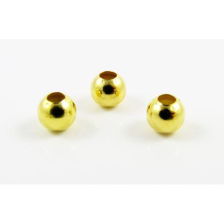 Intarpas skirtas papuošalų gamybai aukso spalvos apvalios formos 4 mm, 100 vnt