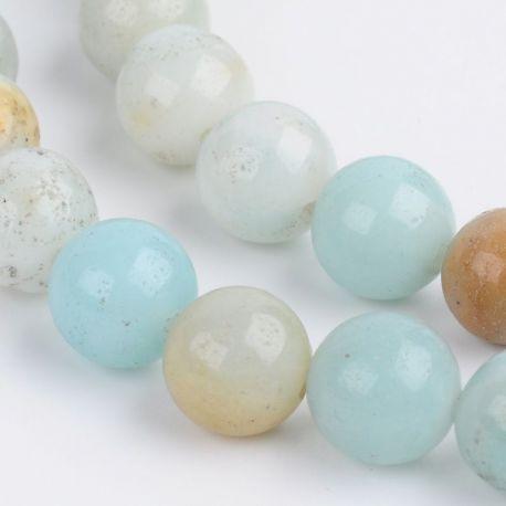 Amazonito akmeninių karoliukų gija, rankdarbiams, suvenyrams, papuošalams gaminti, žalsvos, baltos spalvos, apvalios formos, dyd