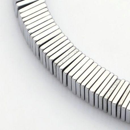 Sintetinio Hematito akmeniniai karoliukai, rankdarbiams, suvenyrams, papuošalams gaminti, sidabro spalvos, kvadrato formos, dydi