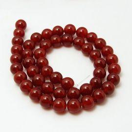 Agato karoliukai, raudonos spalvos, apvalios formos 6 mm