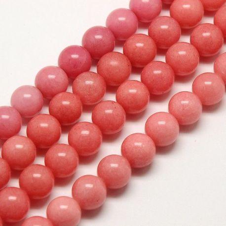 Nefrito akmeninių karoliukų gija, rankdarbiams, papuošalams gaminti. Rausvos spalvos, apvalios formos 8 mm, 1 vnt.