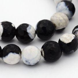 Agato karoliukų gija, juodai baltos spalvos, margi, dydis 8 mm
