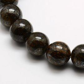 Natūralaus Bronzito karoliukų gija, tamsios rudos spalvos, dydis 6 mm