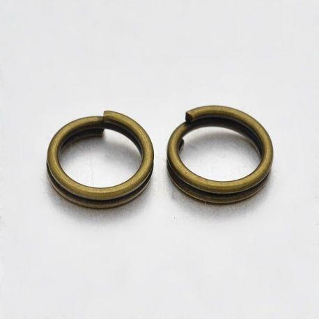 Dvigubi žiedeliai skirti papuošalų gamybai, bronzinės spalvos 6x1 mm
