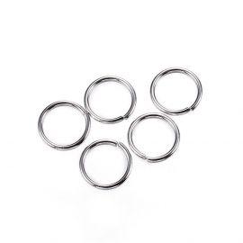 Nerūdijančio plieno viengubi žiedeliai, nikelio spalvos 6 mm
