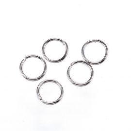 Nerūdijančio plieno viengubi atviri žiedeliai, nikelio spalvos 5x0.6mm