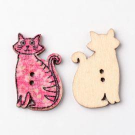 Dekoratyvinė medinė saga, katino formos, skirta papuošimams, dekoracijoms, suvenyrams, dovanoms. Įvairių spalvų, 2 skylių, 30x19