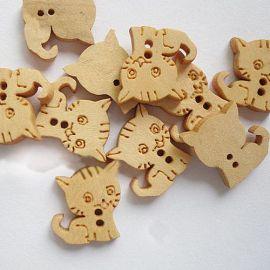 Dekoratyvinė medinė saga, kačiuko formos, skirta papuošimams, dekoracijoms, suvenyrams, dovanoms. Gelvaos spalvos, 2 skylių, 16x