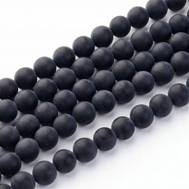 Agato karoliukų gija, matiniai, juodos spalvos, apvalios formos, dydis ~6 mm