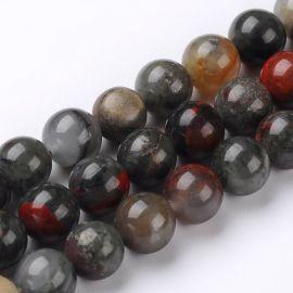 Akmeninių karoliukų gija, įvairių spalvų, apvalios formos dydis ~8 mm