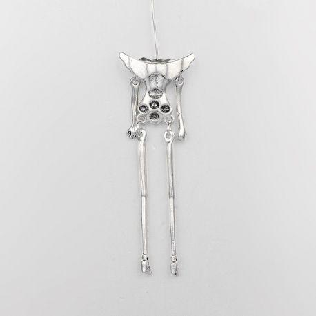 Karkasas lelėms su sparneliais ir smeigtuku. Susikurk pakabuką pats ! Sendintos sidabro spalvos, 78 mm dydžio, 1 vnt