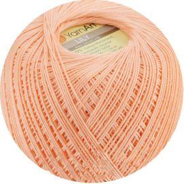 Plonas, tvirtas siūlas rankdarbiams. Lily stiprūs siūlai, 100 % medvilnė, 6322 persiko spalvos, 50 g. Galima megzti virbalais ir