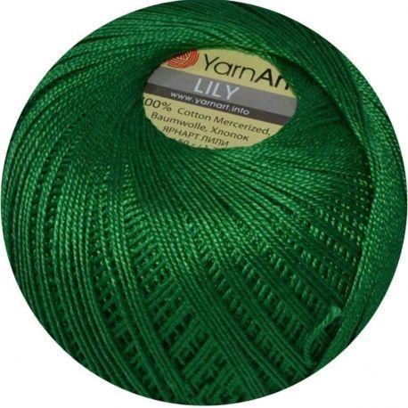 Plonas, tvirtas siūlas rankdarbiams. Lily stiprūs siūlai, 100 % medvilnė, 5542 žalios spalvos, 50 g. Galima megzti virbalais ir