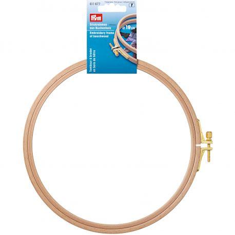 PRYM siuvinėjimo lankelis pagamintas iš natūralaus bukmedžio, su žalvariniu įtempimo varžtu, diametras 19 cm, plotis 8 mm, 1 vn