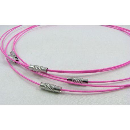 Troselio ruošinys su užsukamu užsegimu vėriniui skirtas verti: karoliukus, perlus, akmenis, ryškios rožinės spalvos, 1.00 mm sto