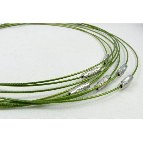 Troselio ruošinys su užsukamu užsegimu vėriniui skirtas verti: karoliukus, perlus, akmenis, žalios spalvos, 1.00 mm storio, ilgi