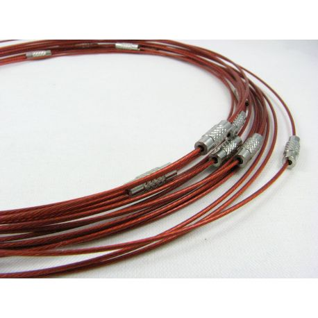 Troselio ruošinys su užsukamu užsegimu vėriniui skirtas verti: karoliukus, perlus, akmenis, raudonos spalvos, 1.00 mm storio, il