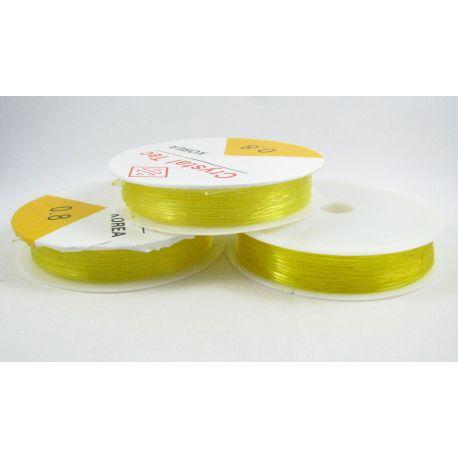 Elastinis siūlas/gumytė skirtas papuošalų, rankdarbių gamyboje, geltonos spalvos, 0.80 mm storiom ritėje 6 metrai