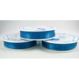 Elastinis siūlas/gumytė skirtas papuošalų, rankdarbių gamyboje,ryškios žydros spalvos, 0.80 mm storiom ritėje 6 metrai
