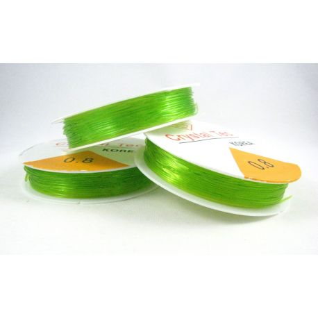 Elastinis siūlas/gumytė skirtas papuošalų, rankdarbių gamyboje, salotinės spalvos, 0.80 mm storiom ritėje 6 metrai