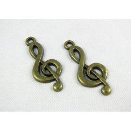 Pakabukas smuiko raktas, sendintos bronzinės spalvos, 25x10 mm