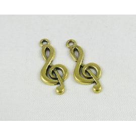 Pakabukas smuiko raktas, sendintos aukso spalvos, 25x10 mm
