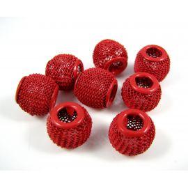 """Metaliniai """"Mesh"""" karoliukai, vėriniams, papuošalams. Ryškios raudonos spalvos, 12x10 mm, skylė ~4 mm, 1 vnt."""