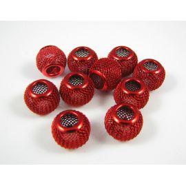 """Metaliniai """"Mesh"""" karoliukai, vėriniams, papuošalams. Ryškios tamsios raudonos spalvos, 12x10 mm, skylė ~4 mm, 1 vnt."""
