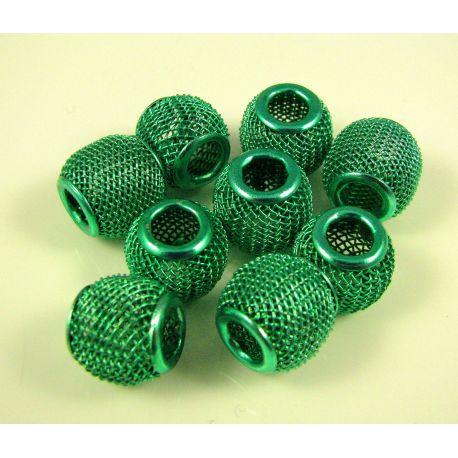 """Metaliniai """"Mesh"""" karoliukai, vėriniams, papuošalams. Žalios spalvos, 12x10 mm, skylė ~4 mm, 1 vnt."""