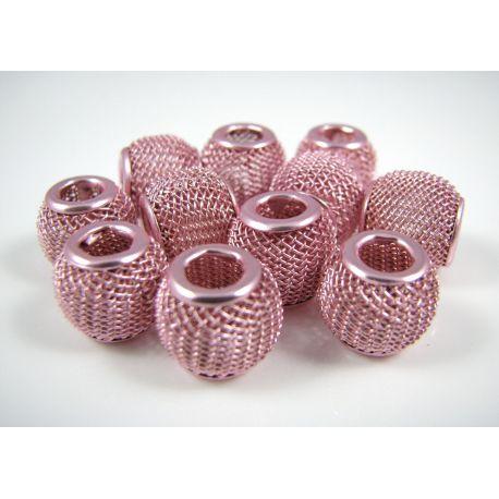 """Metaliniai """"Mesh"""" karoliukai, vėriniams, papuošalams. Šviesiai rožinės spalvos, 12x10 mm, skylė ~4 mm, 1 vnt."""