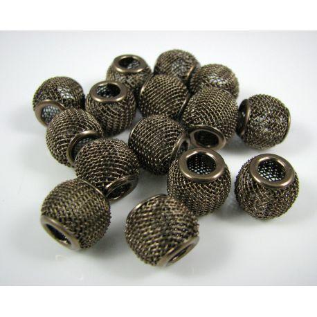 """Metaliniai """"Mesh"""" karoliukai, vėriniams, papuošalams. Šviesiai rudos spalvos, 12x10 mm, skylė ~4 mm, 1 vnt."""