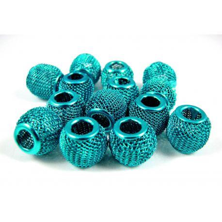 """Metaliniai """"Mesh"""" karoliukai, vėriniams, papuošalams. Elektrinės spalvos, 12x10 mm, skylė ~4 mm, 1 vnt."""
