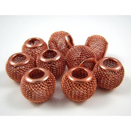 """Metaliniai """"Mesh"""" karoliukai, vėriniams, papuošalams. Oranžinės spalvos, 12x10 mm, skylė ~4 mm, 1 vnt."""