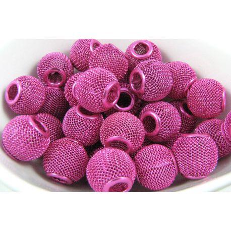 """Metaliniai """"Mesh"""" karoliukai, vėriniams, papuošalams. Ryškiai rožinės spalvos, 14x12 mm, skylė ~5 mm, 1 vnt."""